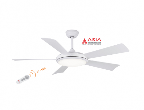Quạt trần đèn cao cấp 48w QT01 - T - Trắng sang trọng Asia
