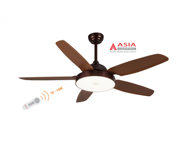 Quạt trần đèn cao cấp 48w QT04 - N - Nâu cà phê Asia