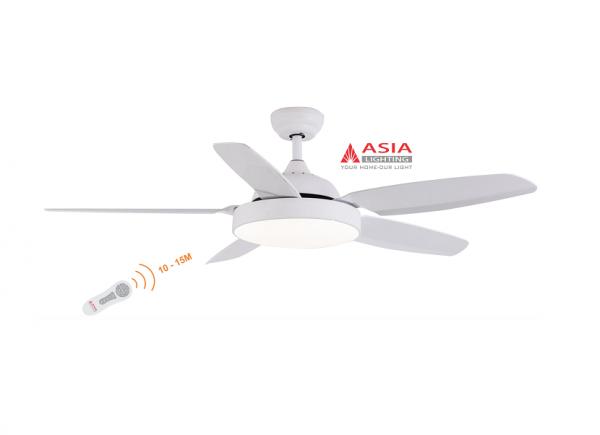 Quạt trần đèn cao cấp 48w QT04 - T - Trắng sang trọng Asia